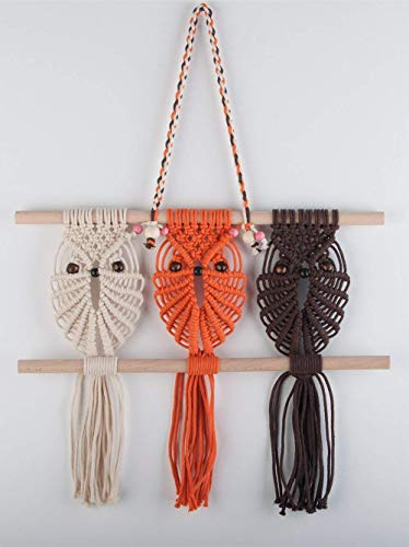 TIMEYARD Three Owls Macrame Woven Wall Hanging Art Decor - Cute Boho Chic Decorations for Baby Nursery Little Kids Room, for Owl Lovers ()