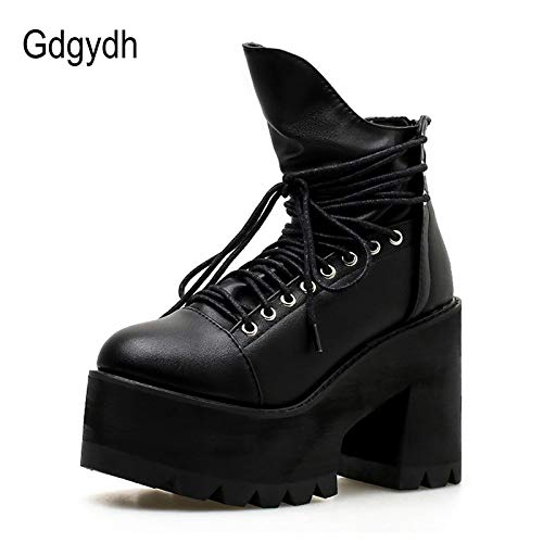 8c3f2babc121a Amazon.com: DingXiong Ankle Boots Women Platform Shoes Round Toe ...