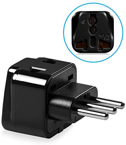Universal Adapter Type L, Fosmon [CE Certified] 2 in 1 USA to Italy, Chile, Ethiopia, Syria, Lybia, Tunisia, Uruguay Dual Outlet Travel Power Adapter Wall Converter - Black (1 PCS)