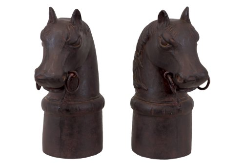 Resin Horse Heads on Cylindrical Stand with Ring Bits Bookend Set of Two Matte Finish Espresso Brown