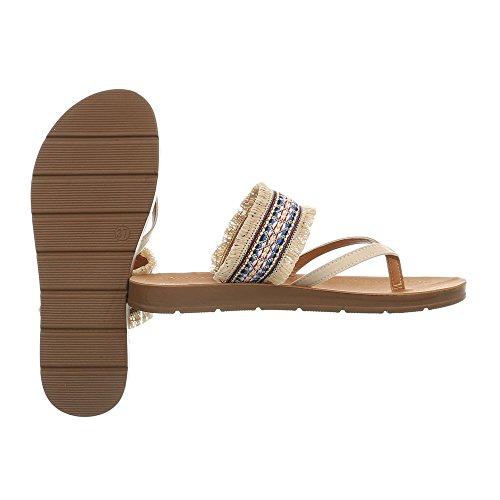 Sandals Sandals Beige at 5213 Design Flat Thong Ital Women's EaXqSP