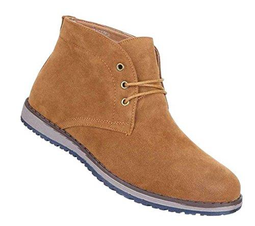 Herren Boots Schuhe Schnürer Stiefeletten Schwarz Blau Camel 36 37 38 39 40 41 Camel