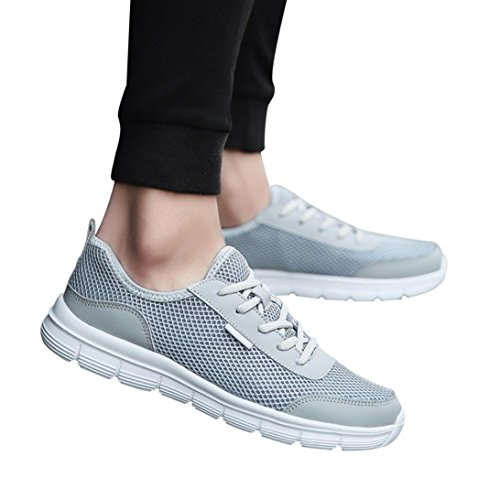 Byste Men Women Breathable Mesh Couples Shoes Unisex Adults' Lightweight Trainers Gym Walking Fitness Running Sneakers Sports Shoes Gray czQYE4
