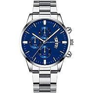 Mens Watches - Quartz Watches for Men Waterproof Stainless Steel Analog Sport Wrist Watch Relojes by Sameno Watch Delux