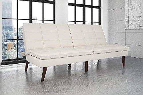 DHP Westbury Linen Pillowtop Futon, White Faux (Leather Sleeper Recliner)