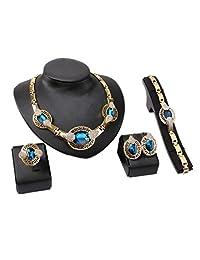 Luxury Necklace Earrings Ring Bracelet Blue Diamond Jewelry Set