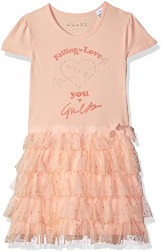 GUESS Little Girls' Short Sleeve Falling in Love Ruffle Dress, Stage Pink, 6 -