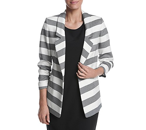 - Jones New York Women's Twill Stripe Boyfriend Blazer, Black Combo, 12