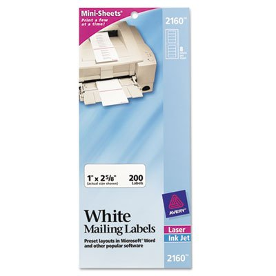 Avery Mini Sheets Address Labels, 1 x 2 5/8, White, ()
