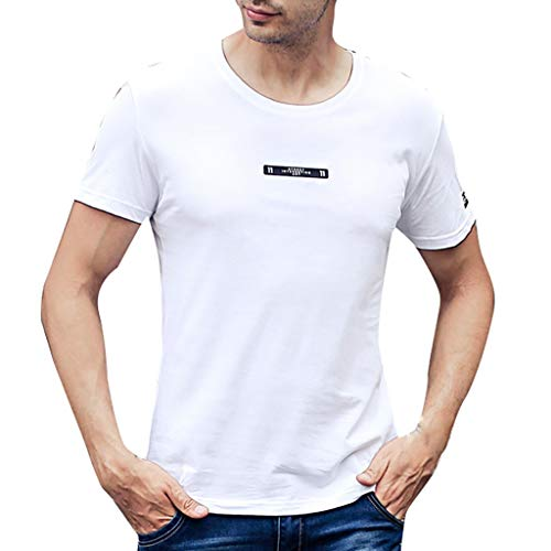 Mote Mens Clothes, Mens Casual Loose Sweat-Wicking Lightweight Breathable Classic Short Sleeve White