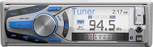Dual Electronics AM615BT 3 inch Full Color Multi-Line Detachable Single DIN Marine Stereo with Built-In Bluetooth & MP3/WMA Player ()