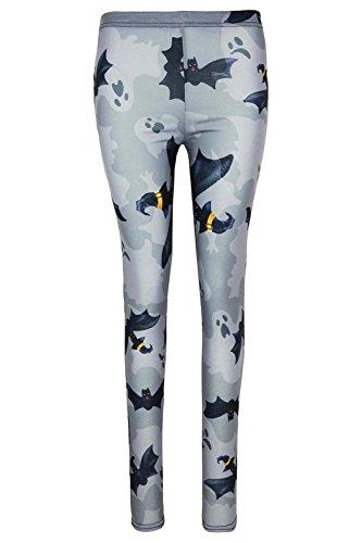 Be Jealous femmes fantôme Halloween Galaxie toile coupe skinny Déguisement JEGGING LEGGING UK grande taille 8-22 - gris chauve-souris, Plus Size (UK 20/22)