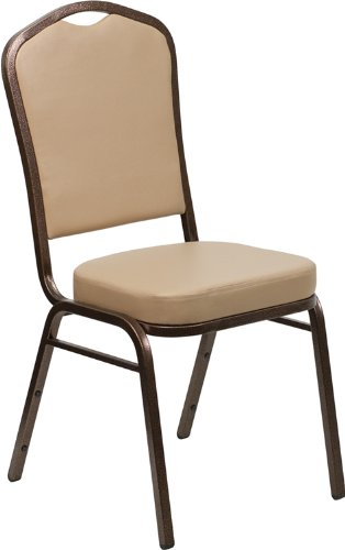 Elegant Flash Furniture HERCULES Series Crown Back Stacking Banquet Chair In Tan  Vinyl   Copper Vein Frame