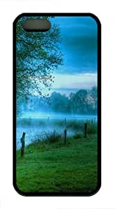 Morning fog lake TPU Silicone iPhone 5S/5 Case Back Cover - Black