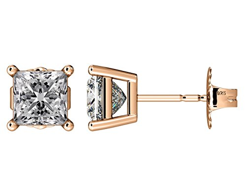 NANA Silver Princess CZ Stud Earrings with 14k Solid Gold Post-6.0mm-2.50cttw-Rose Gold ()