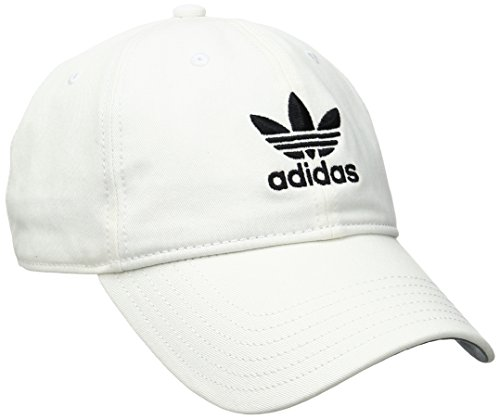 (adidas Men's Originals Relaxed Strapback Cap, White/Black, One Size )