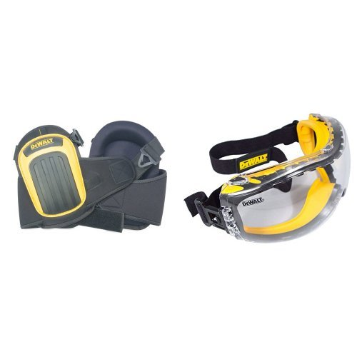 DEWALT DG5204 Professional Kneepads with Layered Gel with DPG82-11 Concealer Clear Anti-Fog Dual Mold Safety Goggle by Custom Leathercraft