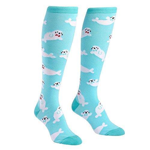 Sock It To Me Women's Knee High Funky Socks Pet Lovers (Baby Seals) Baby Seal Fur