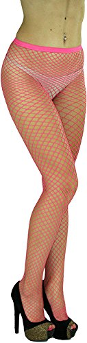 (ToBeInStyle Women's Seamless Diamond Net Spandex Nylon Blend Pantyhose - Fuchsia - One Size Regular)