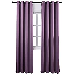Mangata Casa Blackout Window Curtains Thermal Insulated Grommet Bedroom Drapes with 2 Tie Backs, 2 Panels 250gsm(Purple,52x84in)