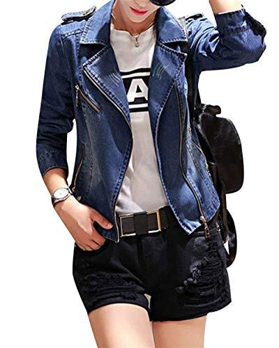 Maniche Primaverile Casual Sottile Lunghe Autunno Coat Blu Donna Tendenza Vintage Cappotto Corto Distressed Bavero Giacca Blau Jeans 4qTwYY