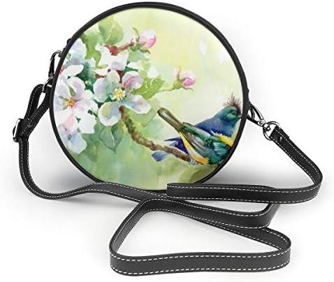 レディース 斜めがけバッグ ザーショルダーバッグ 肩掛けバッグ 春 バードと花 トートバッグ 丸形 ミニバッグ 財布 デート 面白い 旅行用