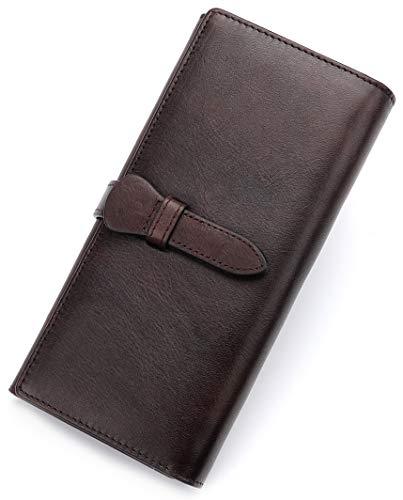 Genuine Leather Wallet Women long Purse Clutch vintage cowhide handmade Card Holder Organizer ()