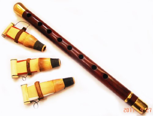 (Golden Duduk Armenian Professional Instrument with 3 Reeds and Playing Instructions Included, Made in Armenia from Apricot Wood and Brass rings)