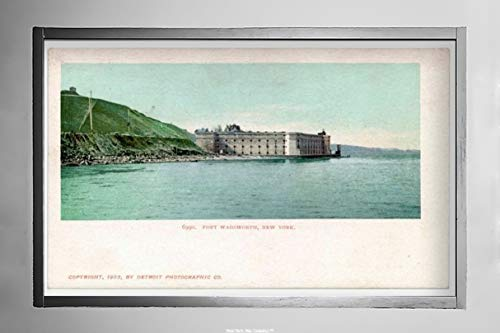 (Fort Wadsworth and Staten Island, New York Bay View from Water of Fort and Small Sailing Boat, Postcard Vintage Antique Fine Art Reproduction Photo |Size: 7x12|Ready to Frame)