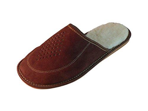 Zapatillas de estar por casa para hombre, ante, con suela ortopédica, varios colores Dark Brown (Wool Lined)