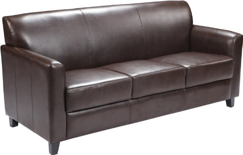 Amazon.com: Flash Furniture HERCULES Diplomat Series Brown Leather Sofa:  Kitchen U0026 Dining