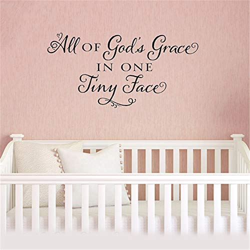 Vinyl Wall Decals Quotes Sayings Words Art Decor Lettering Vinyl Wall Art Nursery Kid Bedroom All of God's Grace in One Tiny Face for Nursery Kids Room