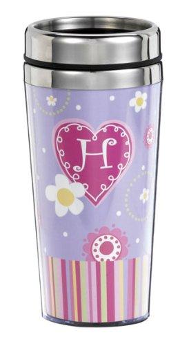 Ganz Sweetheart Travel Mug-H * Monogrammed Initial Coffee Cup (Mugs Ganz Travel)