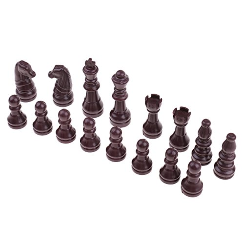 Homyl 16pcs Brown Replacement Plastic Chess Pieces/Chessmen Set Figures with King, Queen, Bishop, Knight, Rook, Pawn ()