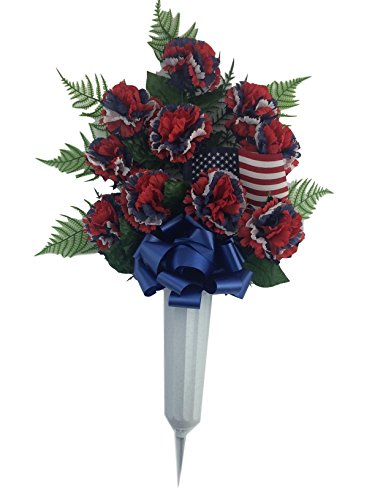 Graveside Floral Arrangements Cemetery Wreaths Vases and Stakes (Memorial Vase with Flowers , Red white blue) (Funeral Flowers Wreaths)