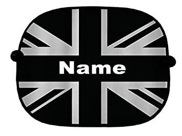 Personalised Pair Of Black White Union Jack Car Window Sun Shades