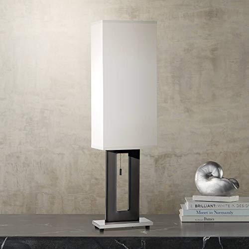 (Floating Rectangle Modern Table Lamp Black Base Off White Shade for Living Room Family Bedroom Bedside Nightstand Office - 360 Lighting)
