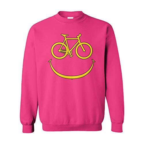 Rider Pink Sweatshirt - Bike Smiley Face - Emoticon Bicycle Rider Unisex Crewneck Sweatshirt (Pink, XX-Large)