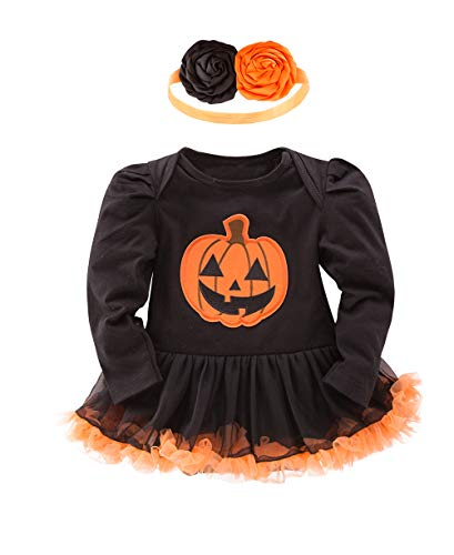 XM Nyan May's Baby Girls Pumpkin First Halloween Costume Tutu Romper Outfit Set with Headband