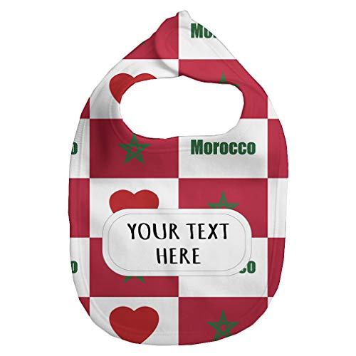 Baby Fleece Bib Custom Morocco Flag Heart Pattern Unisex Children, One Size