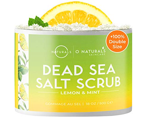 O Naturals Rejuvenating Lemon & Mint Dead Sea Salt Face & Body Scrub. Refreshes, Exfoliates, Tones & Treats Oily Skin, Acne. Anti-Aging. Antiseptic, A