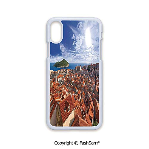 Phone Case Compatible with iPhone X Black Edge Sunset of Dubrovnik City with The Island Mediterranean Culture Old Town Print Deco 2D Print Hard Plastic Phone Case