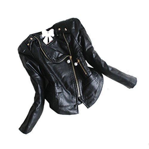 Girls Rivets and Ruffle Chiffon Faux Leather Motor Jacket black-6(2/3Y)