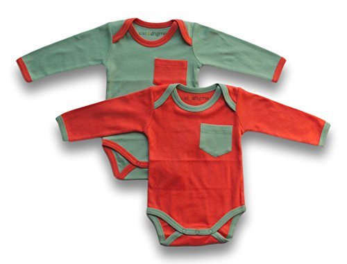 Cat & Dogma - Certified Organic Infant/Baby Clothes - Coral/Mint - Long Sleeves Bodysuit 2 Pack (12-18 Months)
