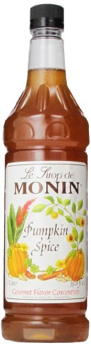(Monin Flavored Syrup, Pumpkin Spice, 33.8-Ounce Plastic Bottles (Pack of 4))