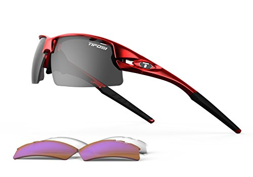 (Tifosi Golf Crit Wrap Sunglasses, Metallic red, Regular)