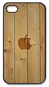 icasepersonalized Personalized Protective Case For Iphone 5C CoverApple Logo with Wooden Background