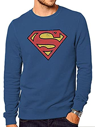 Shirt Distressed Cid Sweat Superman Logo Homme nPvOpqx