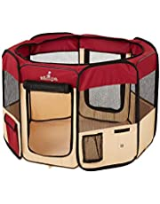 """Zampa Portable Foldable Pet playpen Exercise Pen Kennel Carrying Case for Larges Dogs Small Puppies/Cats 