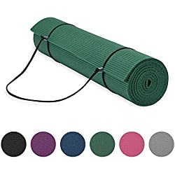 "Gaiam Essentials Premium Yoga Mat with Yoga Mat Carrier Sling, Green, 72""L x 24""W x 1/4 Inch Thick"